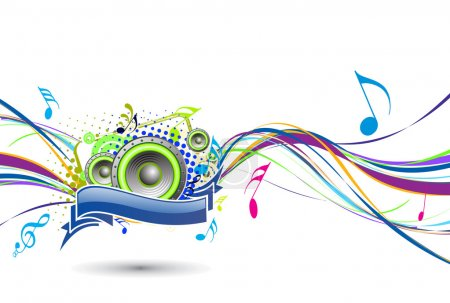 Illustration for Abstract rainbow wave line with music note background, vector illustration - Royalty Free Image