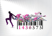 Fifty percent discount man showing of discount in bar code element concept Vector illustration
