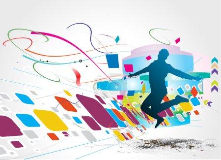 Illustration pour Silhouette d'un jeune homme heureux et amusant, illustration vectorielle - image libre de droit