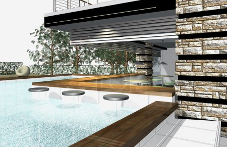 Photo for 3D render of modern house exterior with swimming pool - Royalty Free Image