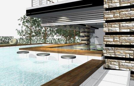 Photo pour Rendu 3D de l'extérieur de la maison moderne avec piscine - image libre de droit