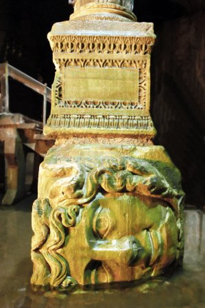 A marble Medusa head sculpture, Istanbul