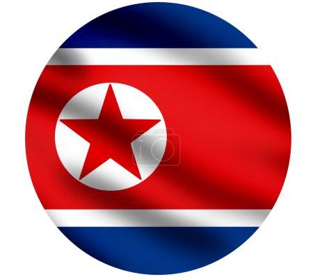 Photo pour Agitant le drapeau de la Corée du Nord, image agrandi, contre blanc - image libre de droit