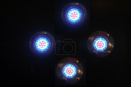 Photo for Blue/white/red light emiting diode against black - Royalty Free Image