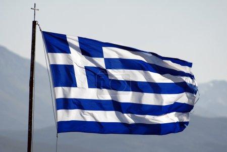 Photo pour Drapeau de la Grèce agitant le vent, plus de drapeaux dans le portefeuille - image libre de droit