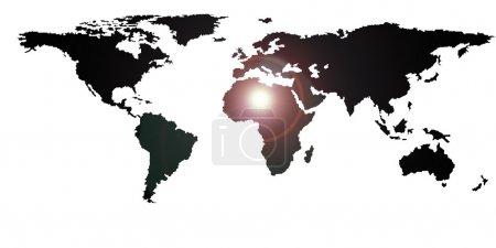 Photo pour Illustration de carte du monde avec tous les continents, isolé sur blanc, fusée éclairante - image libre de droit
