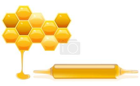 Photo pour Concept de suppléments nutritionnels à base d'illustration de miel avec des cellules mielleuses et ampoule de complément alimentaire - image libre de droit