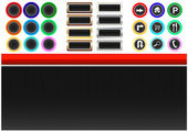 Vector Collection of neon and metal round and rectangle buttons simbols and layout