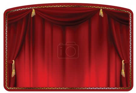 Illustration for Theater curtain blue tied with gold tassels - Royalty Free Image