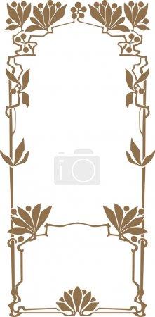 Illustration pour Cadre abstrait des plantes liées dans le style art nouveau - image libre de droit