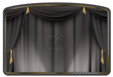 Illustration for Theater curtain black tied with gold tassels - Royalty Free Image