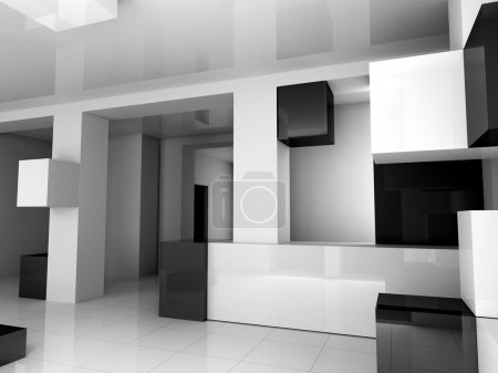 Photo for The white interior is black 3d image - Royalty Free Image