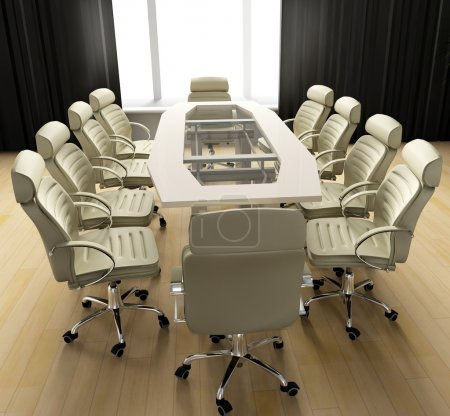 Photo for Table of negotiation at office in Verde 3d image - Royalty Free Image