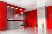 Red reception in modern hotel
