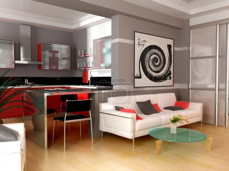 Photo for Exclusive interior of modern inhabited space 3d image - Royalty Free Image