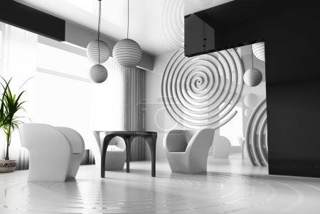 Photo pour Intérieur moderne avec des cercles concentriques sur un plancher - image libre de droit