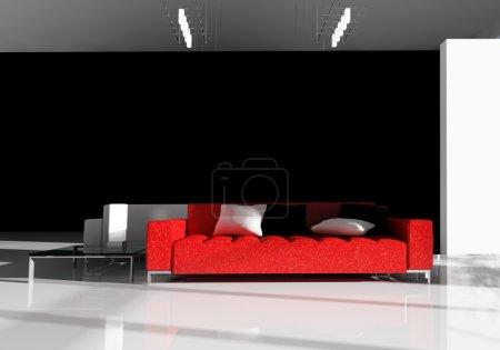 Photo pour Canapé blanc dans une image 3d de salon - image libre de droit