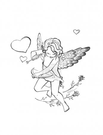 Photo pour Cupidon ange avec illustration de la flèche - image libre de droit