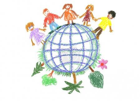 rysunek dziecka z glob