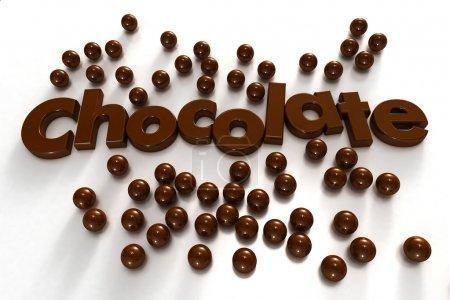 Photo pour Chocolat Word formé par des lettres texturées au chocolat et entouré de gouttes de chocolat sur un fond blanc - image libre de droit