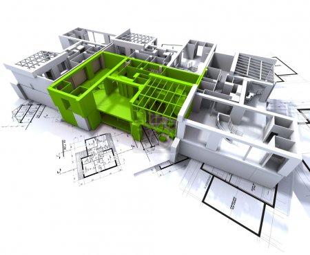 Photo pour Appartement surligné en vert sur une maquette d'architecture blanche sur le dessus des plans de l'architecte - image libre de droit