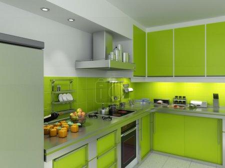 Photo pour Rendu 3D d'une cuisine moderne spacieuse en vert et chrome - image libre de droit