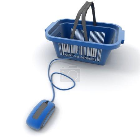 Photo pour Rendu 3D d'un panier connecté à une souris d'ordinateur - image libre de droit