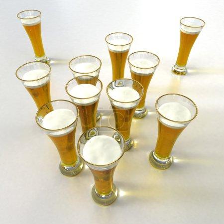 Aerial view of lots of beer glasses