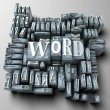 Word written in print letter cases among many othe...