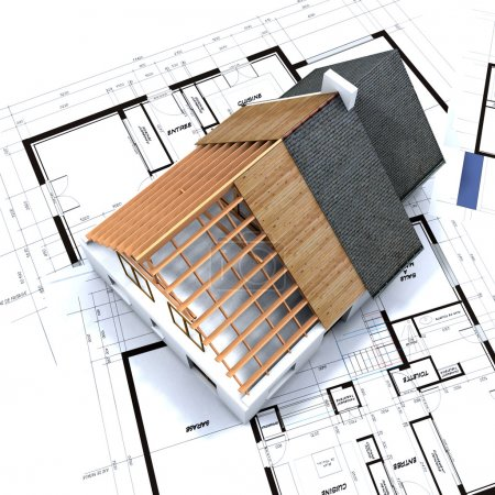 Photo pour Maison en contruction processus au-dessus des plans de l'architecte - image libre de droit