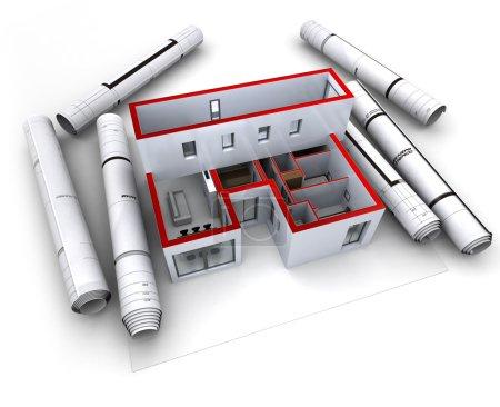 Architectural model design red