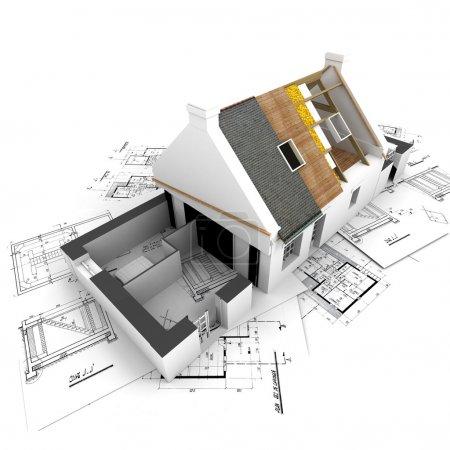 Photo pour Maison avec couches de toit exposées sur le dessus des plans de l'architecte . - image libre de droit