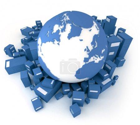 Foto de Representación 3D de la tierra, orientado al Atlántico y un montón de cajas de cartón en tonos azules - Imagen libre de derechos