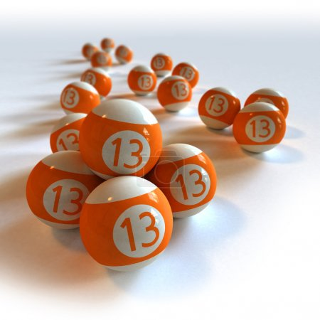 Orange billiard balls with number 13