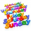 Days of the week formed with colourful letter magn...