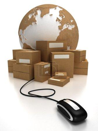 Photo pour Le monde avec un tas de paquets connectés à une souris - image libre de droit