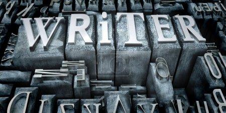 Photo pour Le mot écrivain dans les cas de lettres imprimées - image libre de droit