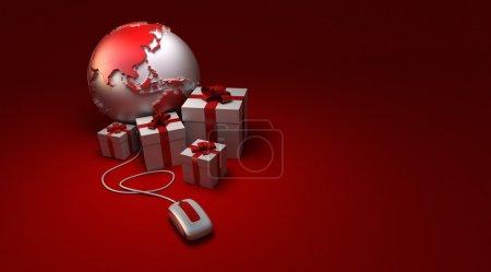 Photo pour Rendu 3D d'une Amérique monde orienté, entouré de cadeaux reliés à une souris d'ordinateur dans les tons blancs et rouges - image libre de droit
