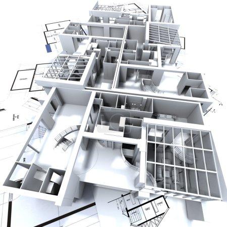 Photo pour Modèle d'appartement sur les plans de l'architecte - image libre de droit
