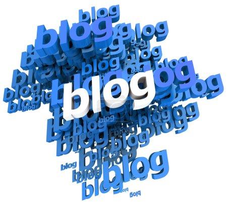 Photo pour Illustration 3D bleue et blanche avec le mot blog répété dans différentes nuances - image libre de droit
