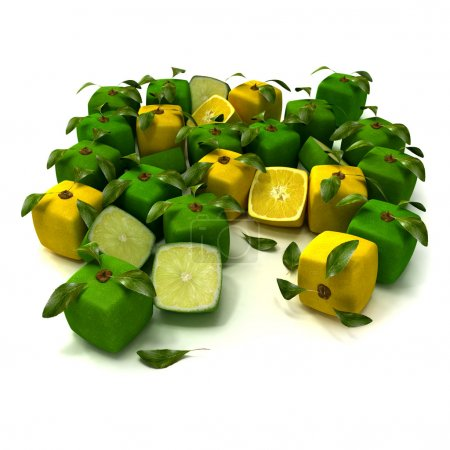 Zitrone und Limette kubischer Hintergrund