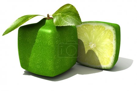 Photo for 3D rendering of a cubic lime and a half - Royalty Free Image