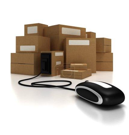 Photo pour Tas de paquets avec une souris d'ordinateur - image libre de droit