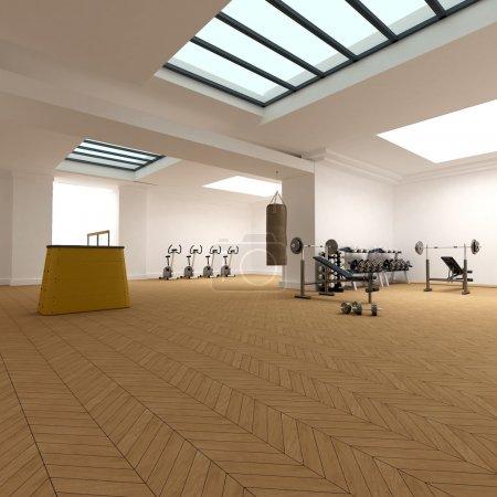 Photo pour Rendu 3D d'un club de gym très spacieux - image libre de droit