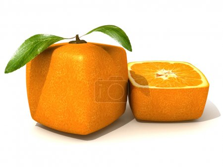 Photo pour Rendu 3D d'un cube fruits orange et demie - image libre de droit