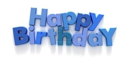 Photo pour Joyeux anniversaire formé avec des aimants lettre bleue sur fond neutre - image libre de droit