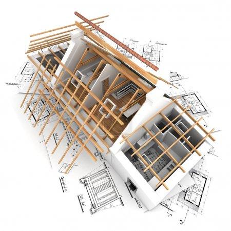 Photo pour Rendu 3D d'une maison dans le processus de construction du toit - image libre de droit