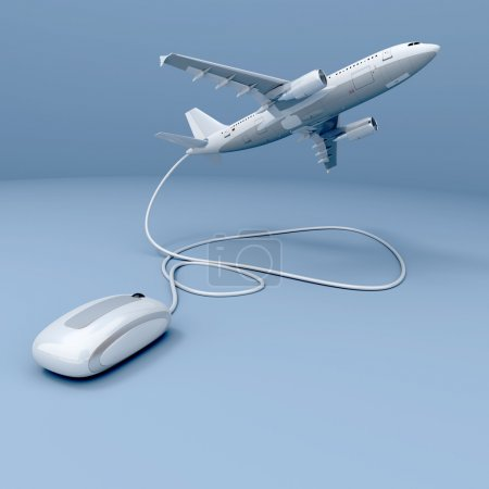 Photo pour Rendu 3D d'un avion volant connecté à une souris - image libre de droit