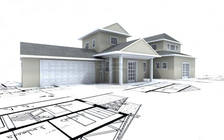 Photo for 3D-rendering of a big expensive-looking house on top of architecture blueprints - Royalty Free Image
