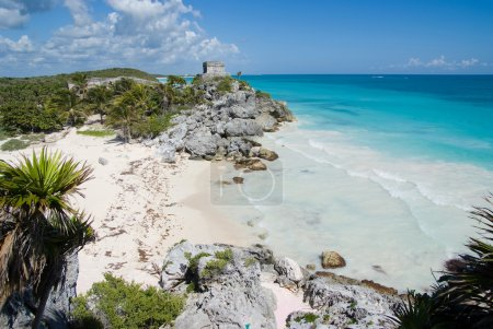 View of a beautiful cove and Mayan ruins...